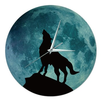 Noctilucent Wolf Simple Wall Clock    wolf