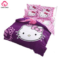 Hello kitty Bedding Set 4pcs include Duvet Cover Bed Sheet  Pillowcase Children Kids Comforter Bedding Sets housse de couette