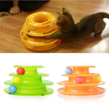 Plastic Three Levels Tower Tracks Disc Cat Toy Amusement Shelf Play Station