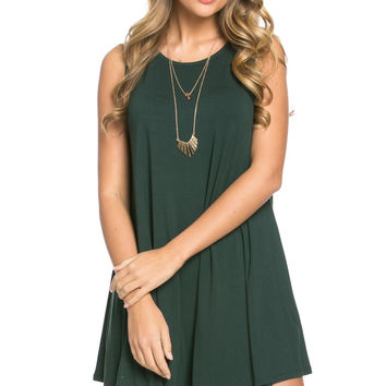 Modern High Low Mini Dress Hunter Green