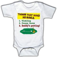 Things that make me giggle: Tickling, Funny faces, DADDY'S PUTTING! - Bodysuit