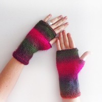 Christmas Sale 20 % OFF Ombre Arm Warmers, Knit Fingerless Gloves, women accessories with bow