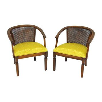 Pre-owned Mid-Century Cane Horseshoe Barrel Chairs - A Pair  sc 1 st  wanelo.co & Shop Cane Barrel Chairs on Wanelo