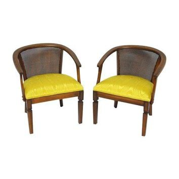 Pre-owned Mid-Century Cane Horseshoe Barrel Chairs - A Pair