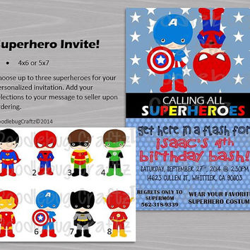 Superhero Birthday Party Invitations! Custom Personalized Invitations. 24hr turn around. Superman, Spiderman, Batman, Captain America, Flash