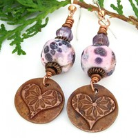 Valentines Hearts Flowers Earrings, Copper Lampwork Rustic Pink Purple Boho Handmade Jewelry