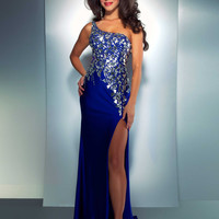 One Shoulder Cassandra Stone Prom Gown 85154A