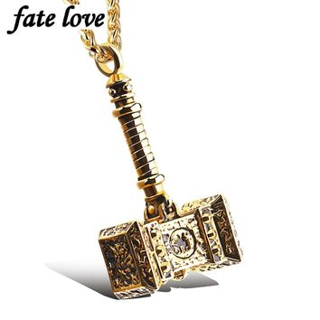 New 2017 men jewelry accessories thor hammer pendant necklace stainless steel biker vintage steampunk gold Color mens necklaces