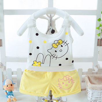 2017 Kids Clothes Baby Girls Summer Clothes Set Harness Vest+ Shorts Childrens Toddler Girls Clothing Set Baby Clothes for Girls