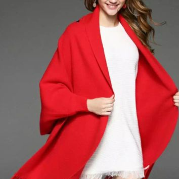 Dolman Sleeved Embroidered Wool Cape Shawl