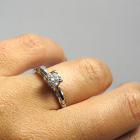 14k White Gold Solitaire Diamond Ring - Size 6 - Engagement Wedding Ring