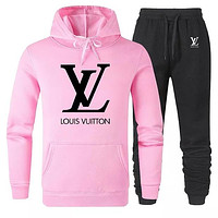 LV Louis Vuitton Classic letter hoodie top and pants Trouser two piece set sports suit Pink
