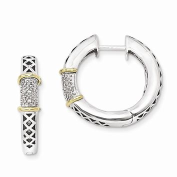 Antique Style Sterling Silver with 14k Gold Diamond Hinged Hoop Earrings