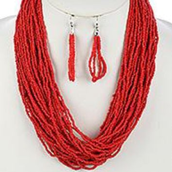 beautiful MULTI STRAND Coral RED SEED BEAD  NECKLACE AND EARRING SET
