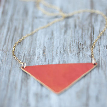 Celosia Orange Hand Cut Hand Hammered Triangle Necklace On A 1.3 mm Fine Gold Plated Chain - Spring Fashion - Boho - Beachcomber Collection