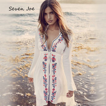 Seven Joe Sexy Foral Lace Chiffon Blouse Shirt Vintage Loose Batwing Sleeve Cardigan Summer Deep V collar Beach dress