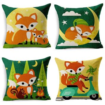 Cute Wild Animal Fox Pillow Case Cotton Linen Chair Waist Seat Square 45x45cm Pillow Cover Home Living Textile