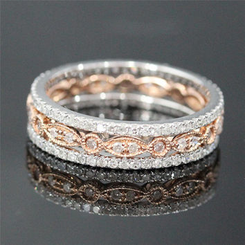 3-Wedding Ring Set of 2 diamond Full Eternity Band White Gold and Milgrain Bezel Diamond in Solid 14K Rose Gold,Fashion Fine,Anniversay Ring