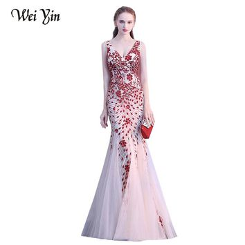 WEIYIN Sexy V-neck Sequins Mermaid Evening Dresses Sleeveless Special Design Robe De Soiree Prom Dress Party Gowns