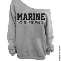 Marine Girlfriend - Gray Slouchy Oversized Sweatshirt