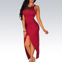 Wine Red Sleeveless Wrap Ruched Open Front Bodycon Maxi Dress