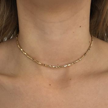 Light Up The Night Choker Necklace in Gold