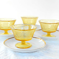 Normandie Federal Glass Sherbet Glasses, Set of 4, Amber, Bouquet and Lattice, Tea Party, Weddings, Depression Glass