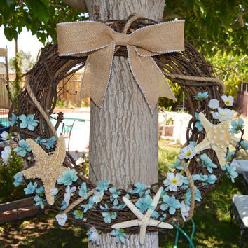 Beach Grapevine Wreath - Starfish - Burlap Bow - Ocean