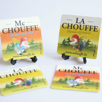 Vintage La Chouffe beer coasters, beer lover gift, leprechaun coaster set, Belgian beer decor, Belgian beer coasters, gnome decoration