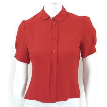 Red Rayon Cropped Blouse Nipon Boutique