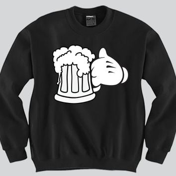 Beer Glass Mickey Mouse hands Unisex Crewneck Funny and Music