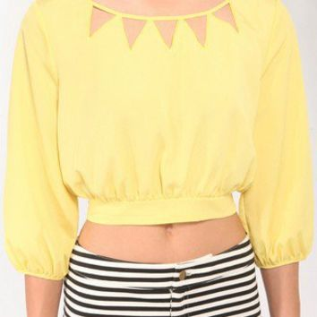 Cutout 3/4 Sleeve Top