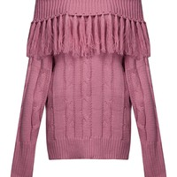 Pink Off Shoulder Tassel Trim Cable Knit Sweater