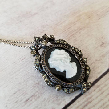Cameo Brooch and Pendent/ Silver Marcasite Black Onyx Cameo/ Cameo Necklace/ Cameo Pin/ Brooch/ Black and White Cameo Brooch/ Pendant