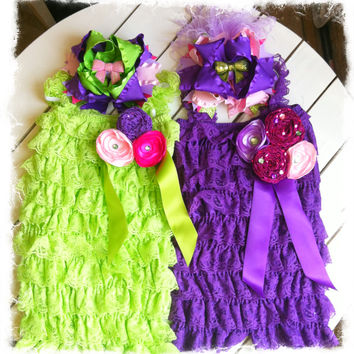 Matching Twin Girl 1st Birthday Outfit-Purple and Lime Green Petti Lace Romper Set-Big Sister Little Sister Outfit