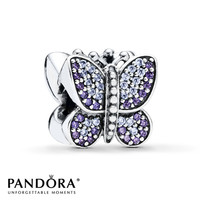 Pandora Butterfly Charm Purple & Lavender CZ Sterling Silver