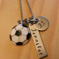 Hand Stamped Necklace Soccer Necklace with Soccer Charm Name