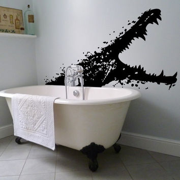 Vinyl Wall Decal Alligator with open mouth / Sea Creature Bathroom Art Decor Sticker / Scary Crocodile Bath Mural + Free Random Decal Gift