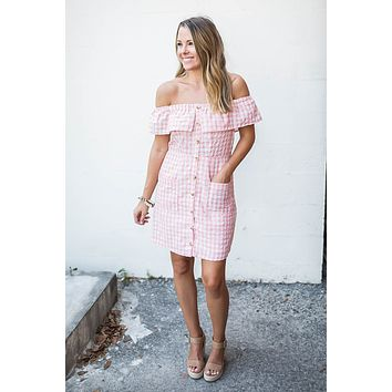 Around The Corner Gingham Dress - Rose