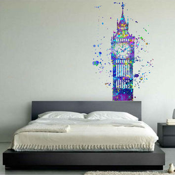 kcik1737 Full Color Wall decal poster space Watercolor paint splashes Peter pen Big Ben fairy tale children's room