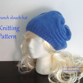 Scrunch Slouch Hat Knitting Pattern, Women's Chunky Knit Hat, Slouchy Beanie, Ruched Tucked