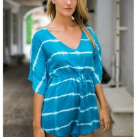Turquoise tie-dye butterfly playsuit with drawstring waist | Jaycee | escloset.com
