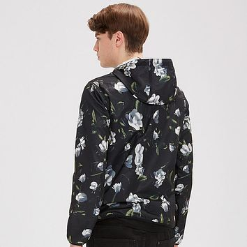 Men Autumn Thin Jacket Hooded Black Printing Jackets Men Casual Slim Fit Jackets Polyester Coat