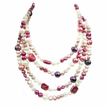 Long Rope Multi-Colored and Shape Genuine Pearl Women Necklace (64 Inches)