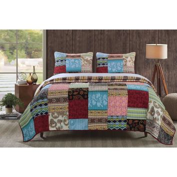 Bohemian Dream Quilt Set, 3-Piece King -Greenland Home Fashions