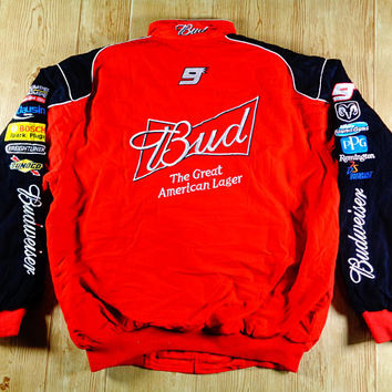 20% OFF Budweiser King Of Beers Nascar Red Chase Racer Jacket By JH Design Group