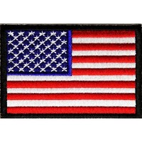 "Embroidered Iron On Patch - USA Patriotic American Flag Black Border 3"" x 2"" Patch"