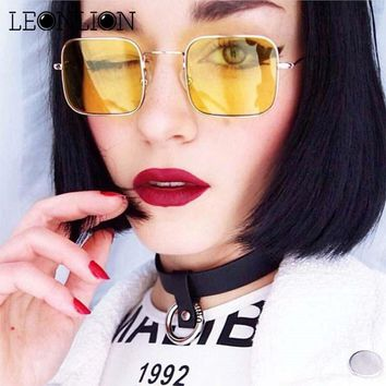 LeonLion 2018 Vintage Square Ocean Lens Sunglasses Women Brand Designer Small Frame Alloy Sunglasses Reflective Mirror Glasses