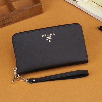 Prada Women Leather Zipper Wallet Purse Black