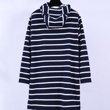 Casual Striped Hooded Christmas Reindeer Beading Plus Size Shift Dress